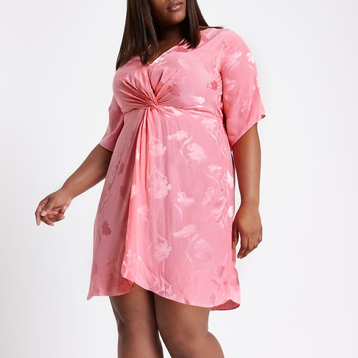 Plus pink knot front kimono dress