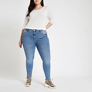 Plus mid blue Amelie twisted hem skinny jeans