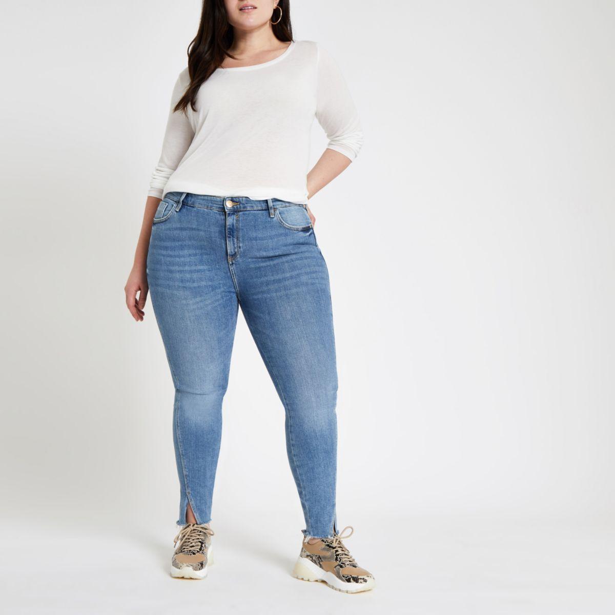 Plus mid blue Amelie twisted hem skinny jeans