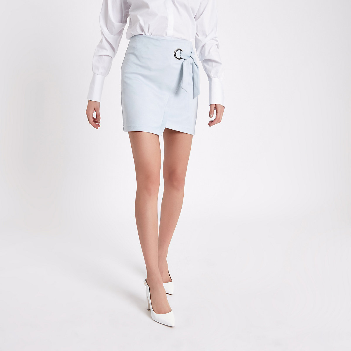 Blue wrap eyelet tie-up mini skirt