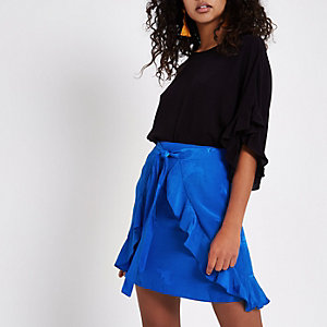Blue wrap tie front jacquard mini skirt
