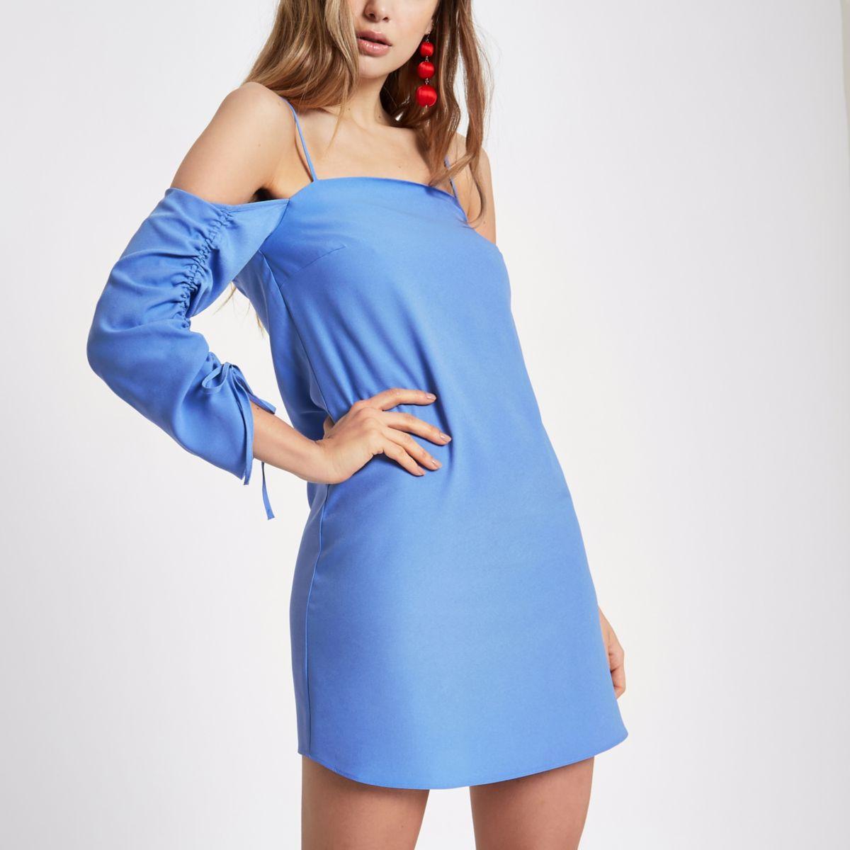 Light blue cold shoulder swing dress