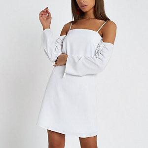 Cream bardot ruched sleeve swing dress