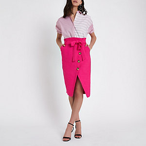 Pink paperbag button front pencil skirt