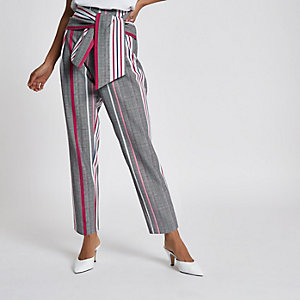 ​Petite grey check print tie front trousers