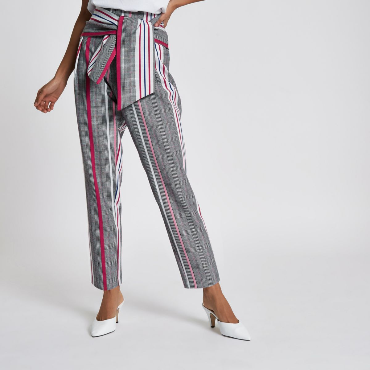 Petite grey check print tie front trousers