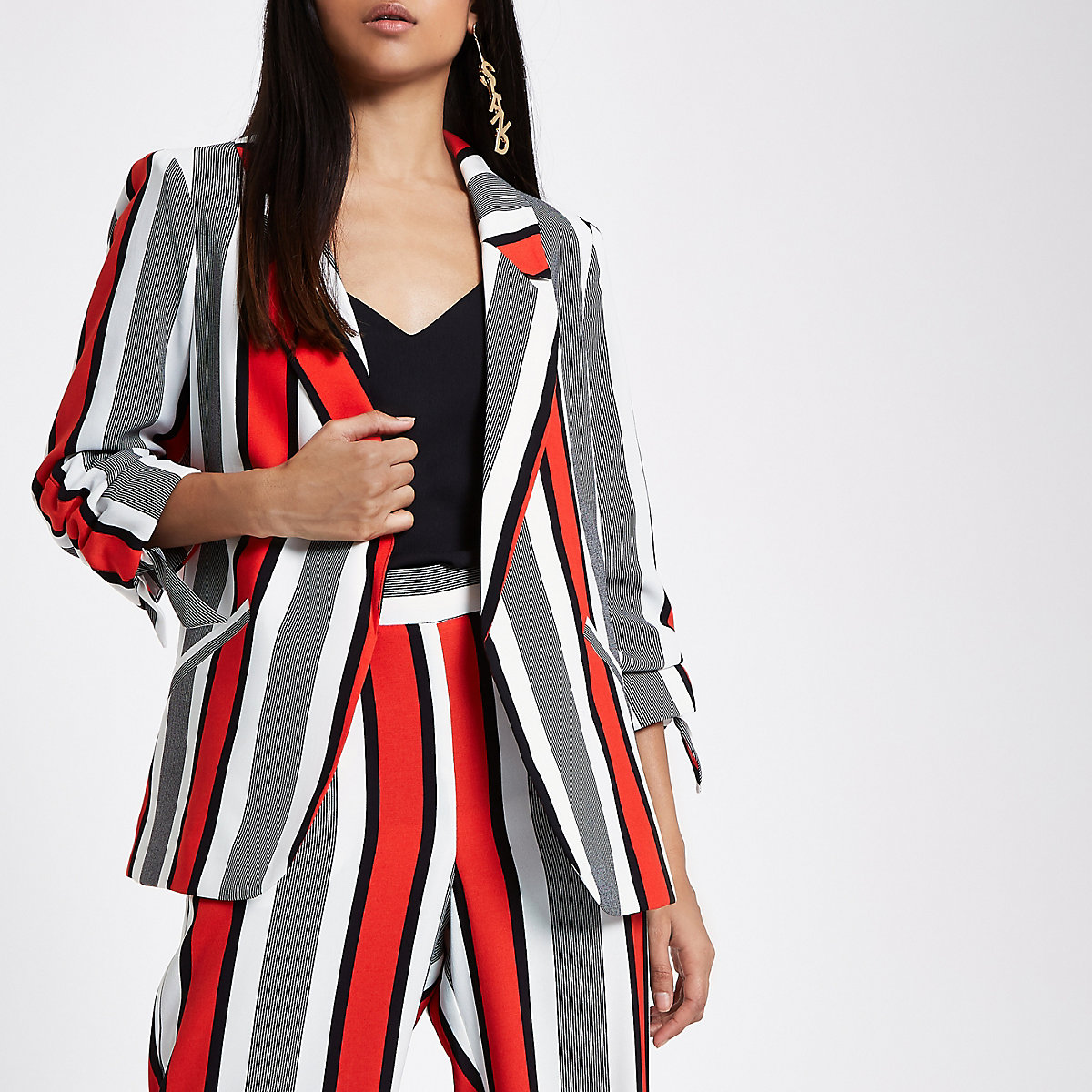 Petite red stripe ruched sleeve blazer