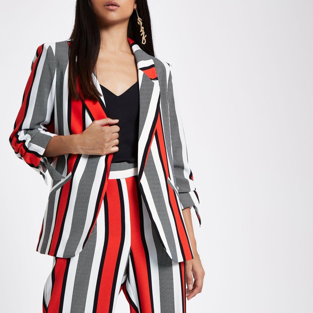 Petite red stripe ruched sleeve blazer