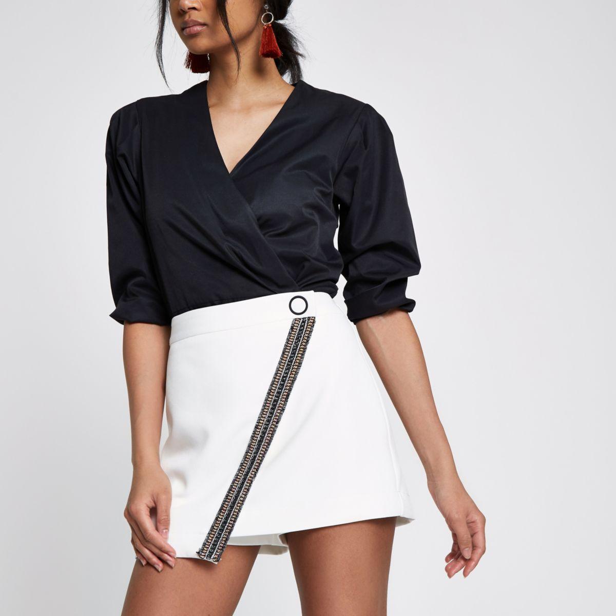 White embellished structured skort
