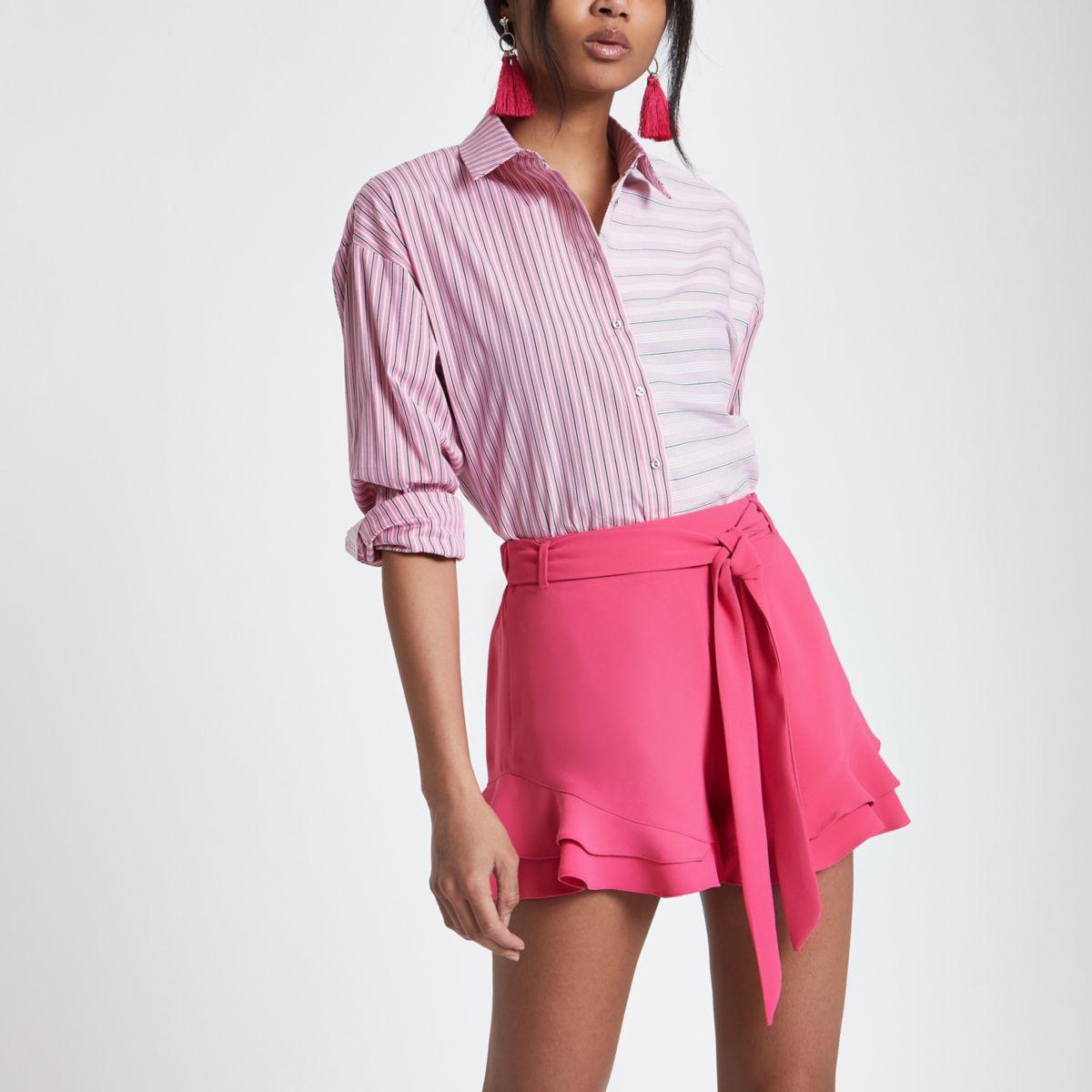Pink frill hem tie waist shorts