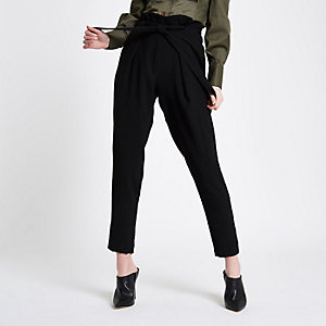 Black eyelet tapered trousers