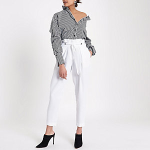 White eyelet tapered trousers