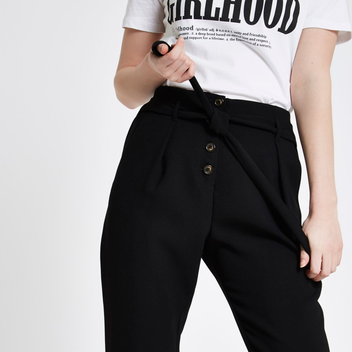 Black button front tapered peg pants