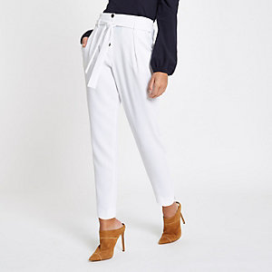White button front tapered peg pants