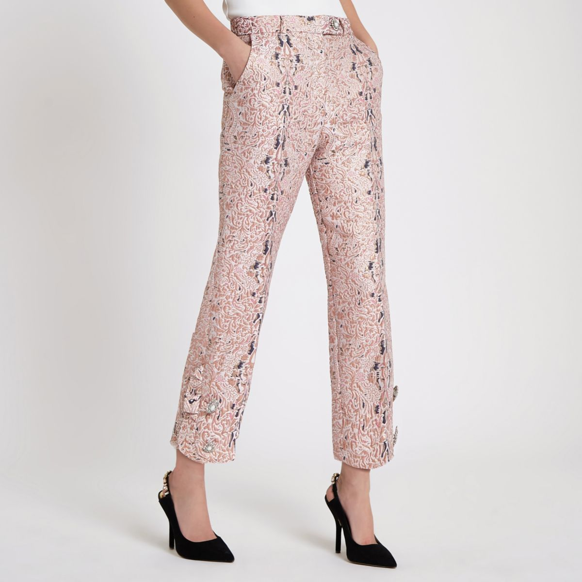 Pink faux pearl cigarette trousers