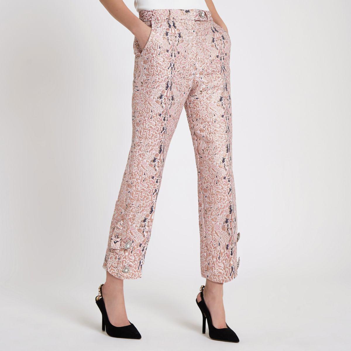 Pink faux pearl cigarette pants