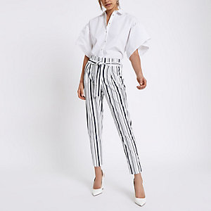 Navy stripe tie waist tapered trousers