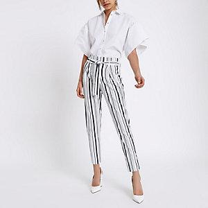 Navy stripe tie waist tapered trousers