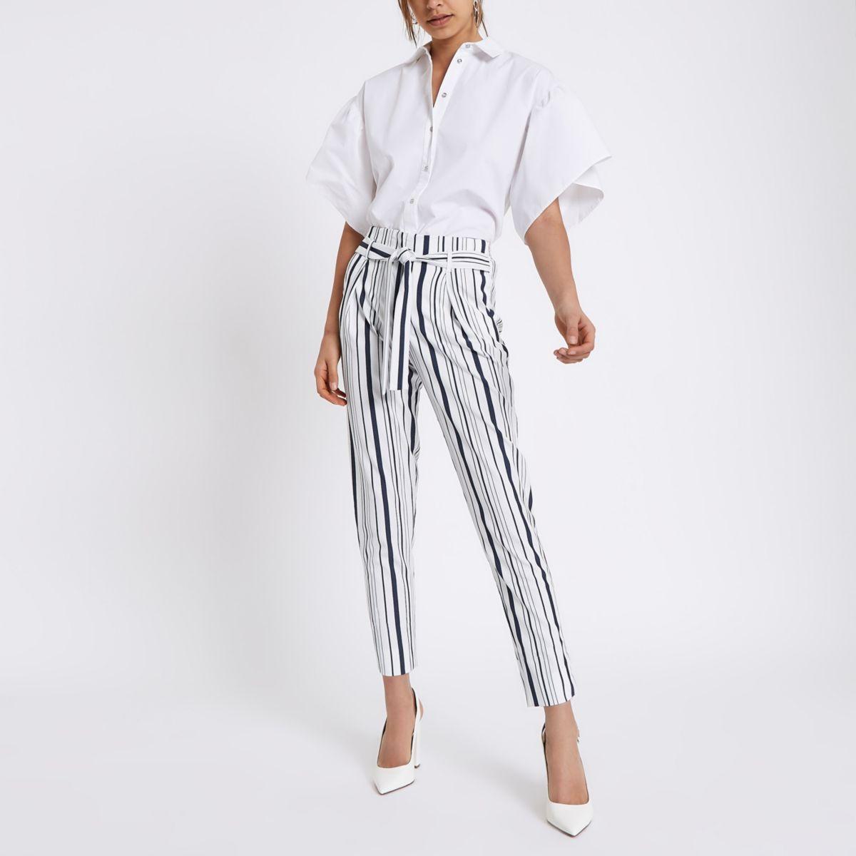 Navy stripe tie waist tapered pants