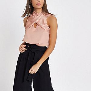 Pink wrap neck sleeveless top