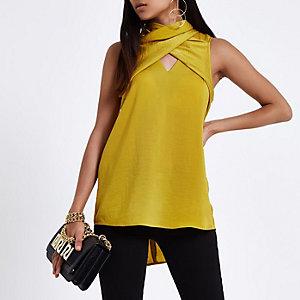 Yellow wrap neck sleeveless top