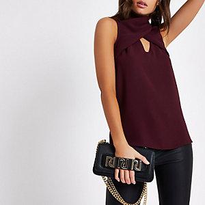 Dark red wrap neck sleeveless top