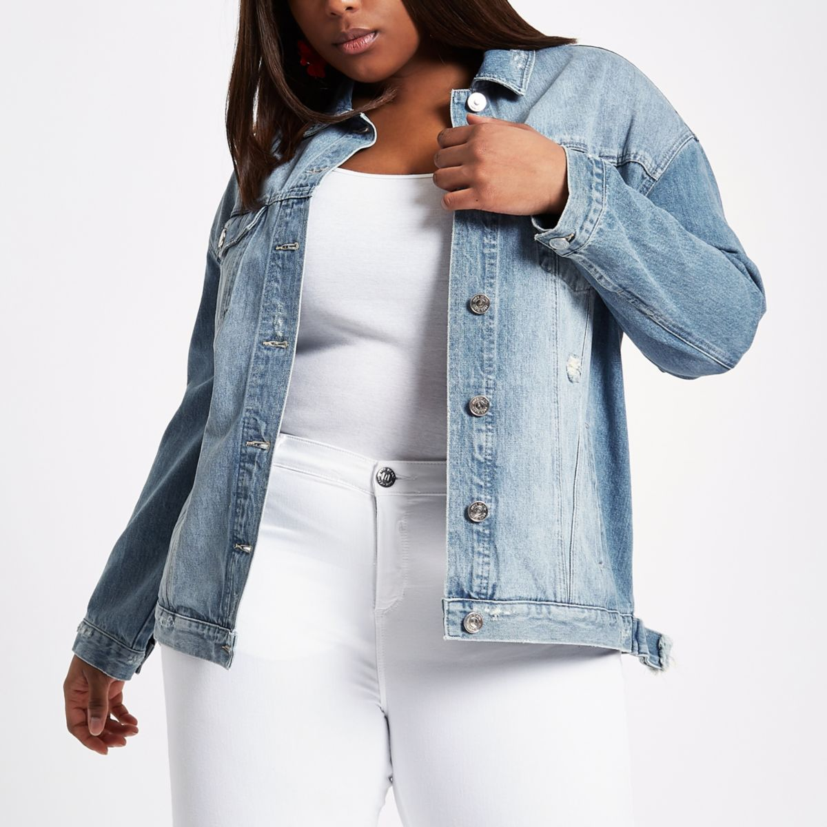 Plus Blue oversized distressed denim jacket