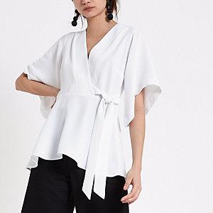 White kimono sleeve wrap top