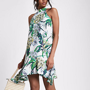White floral frill hem swing dress