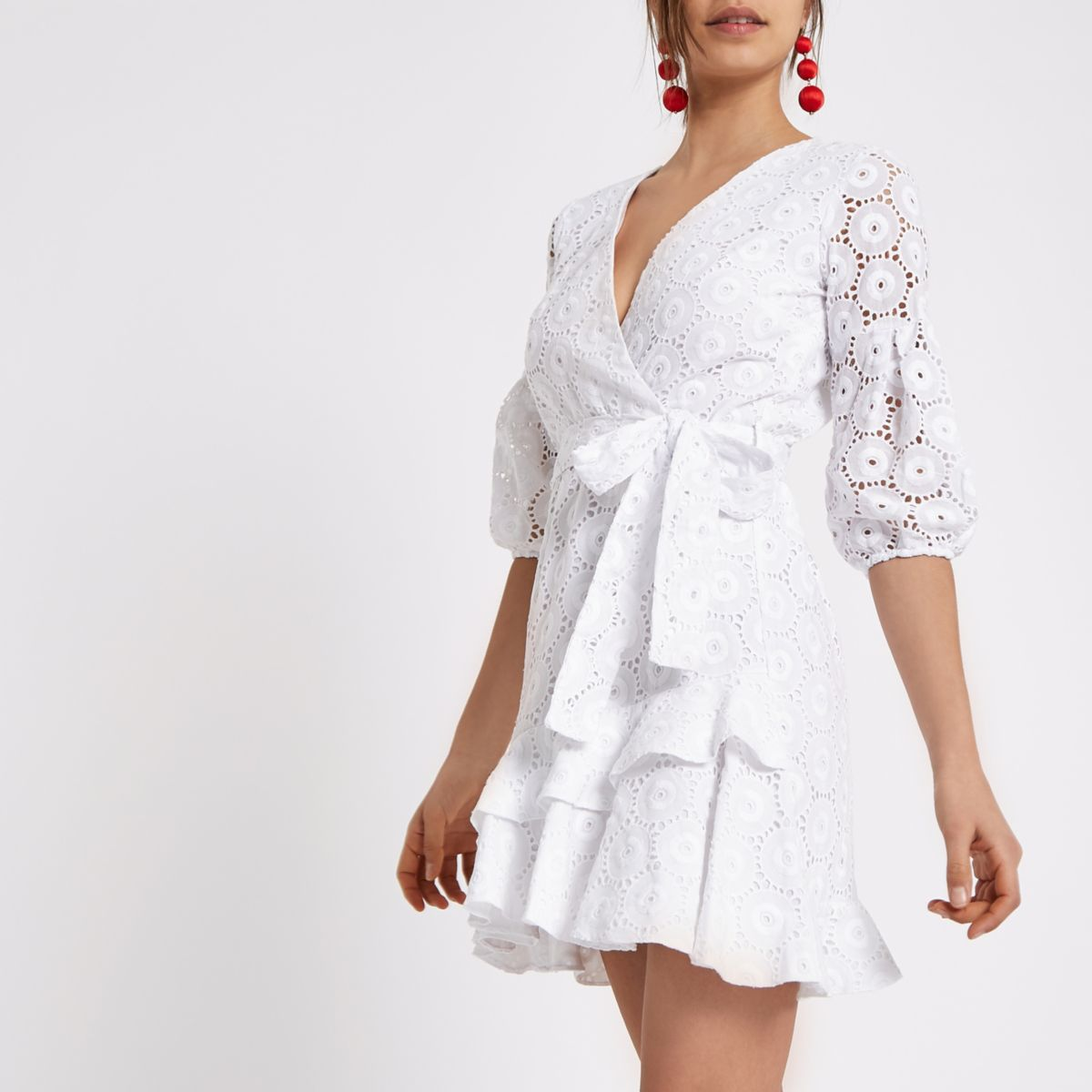 White broderie tie front wrap dress