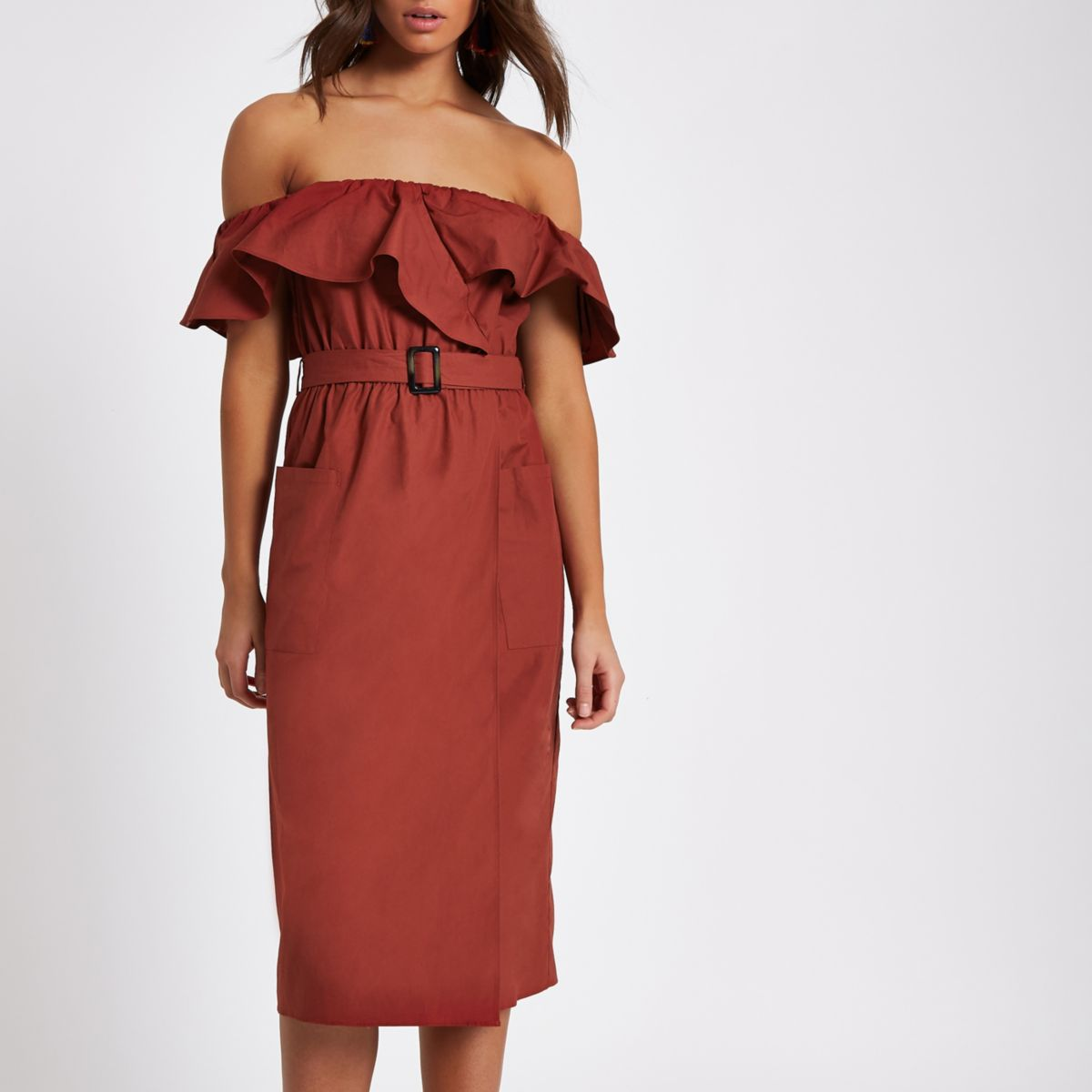 Dark red belted bardot dress