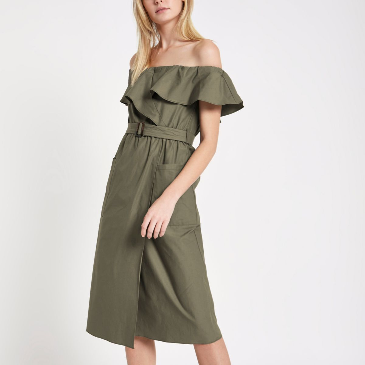 Khaki belted bardot dress
