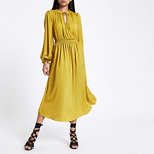 Yellow shirred wrap smock dress