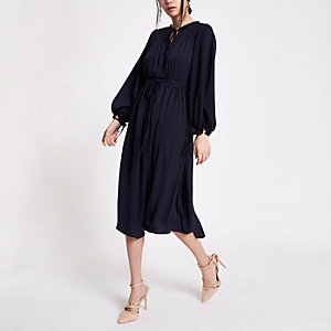 Navy shirred waist swing dress
