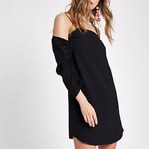 Black cold shoulder ruched sleeve swing dress