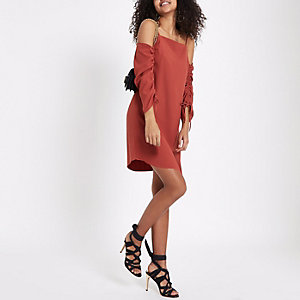 Dark orange cold shoulder ruched swing dress