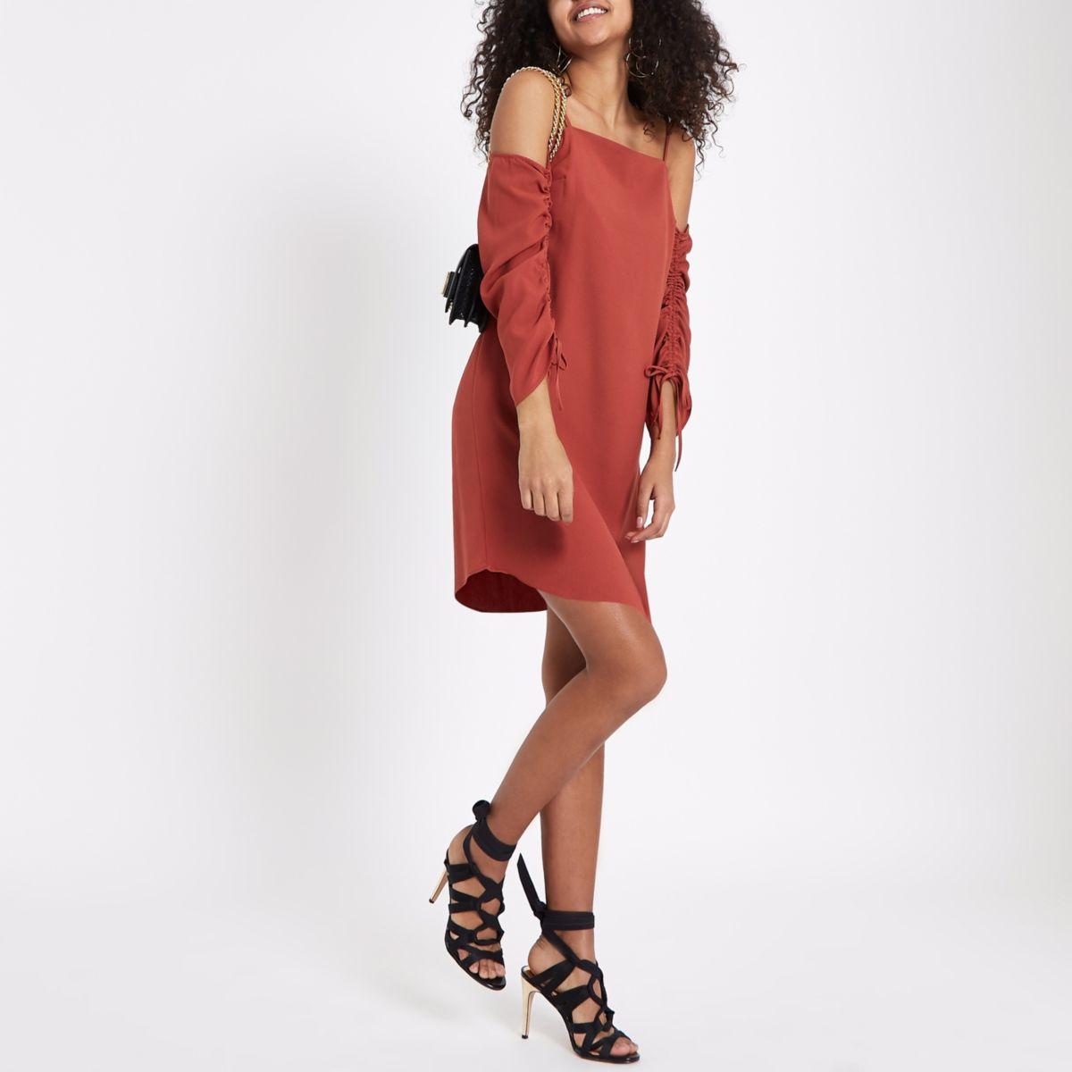 Dark orange cold shoulder ruched swing dress