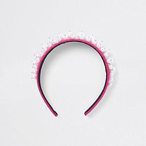 Haarreif mit Perlenverzierung in Pink