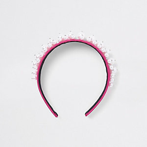 Roze haarband met parels