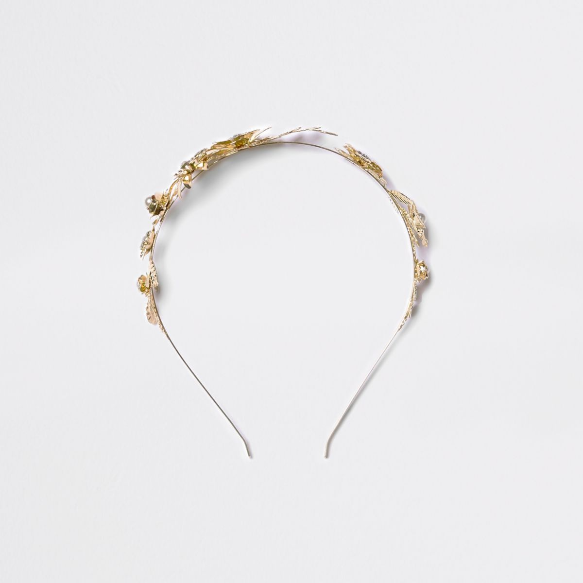 Gold tone rhinestone flower hair band