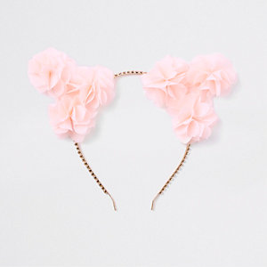 Pink flower cat ears hair band