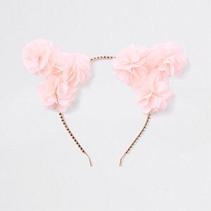 Roze gebloemde haarband met kattenoren