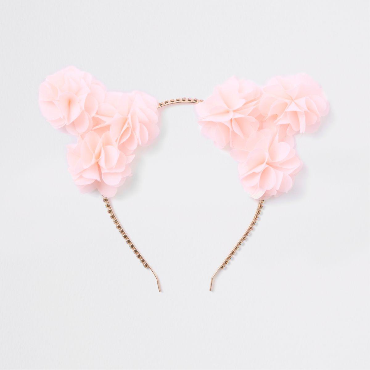 Pink flower cat ears hair band