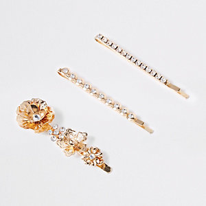 Gold tone diamante flower hair clip multipack