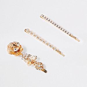 Multipack goudkleurige haarspeld met diamantjes en bloem