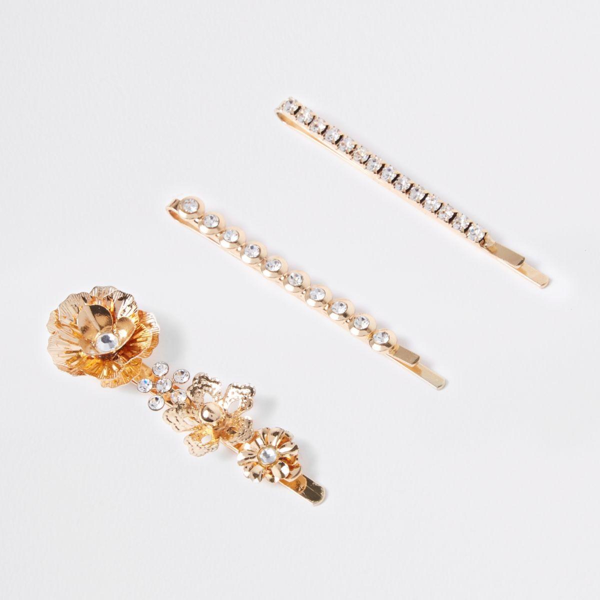 Gold tone diamante flower hair clip multipack