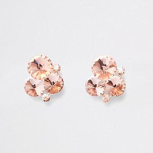 Rose gold tone diamante cluster stud earrings