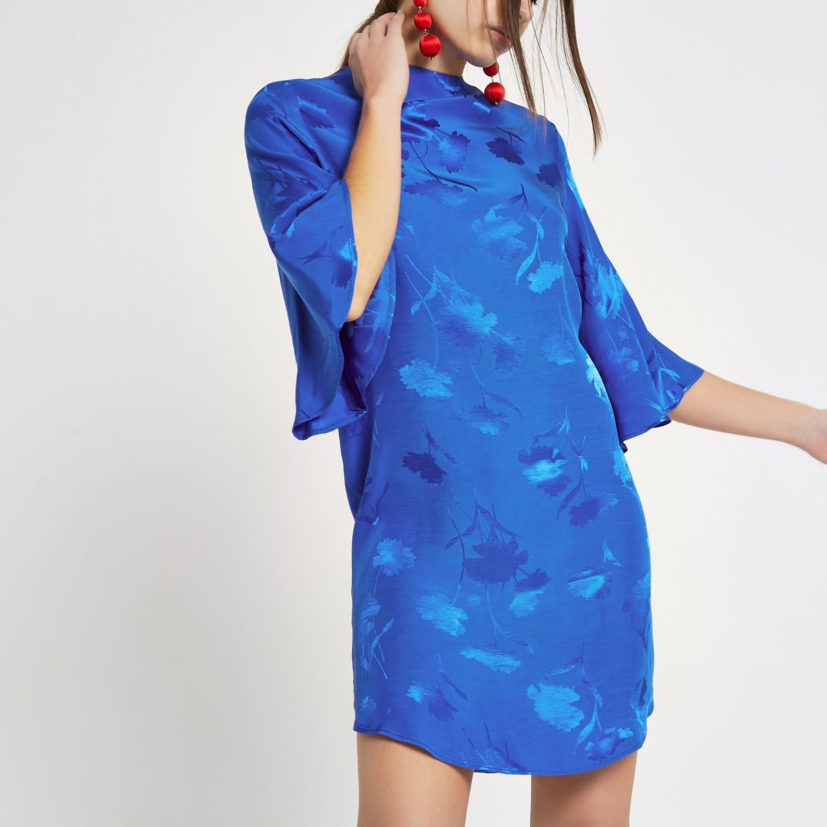 Blue jacquard high neck swing dress
