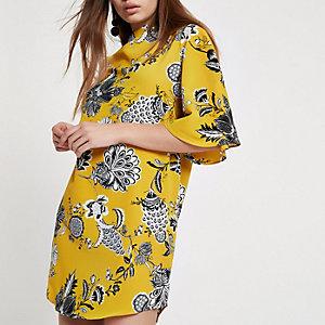 Gele jurk met bloemenprint en uitlopende mouwen