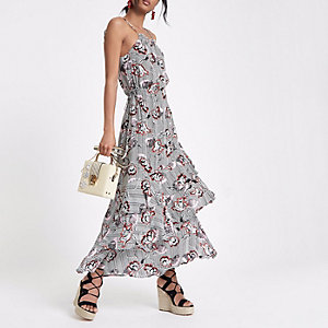 Black floral stripe high neck maxi dress